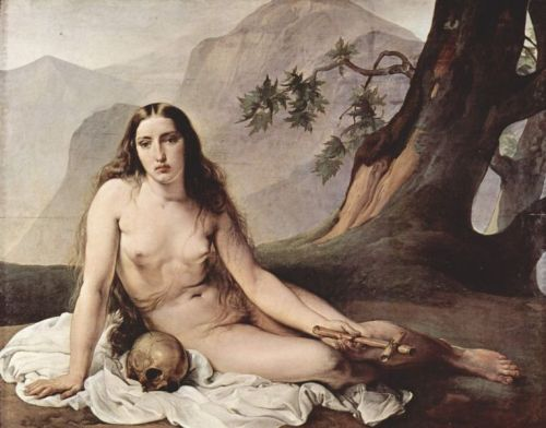 marie madeleine,magdalena,francesco hayez,pénitente,nue,crâne