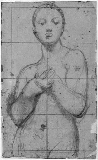 ingres,dessin,croquis,vierge nue,nude madonna