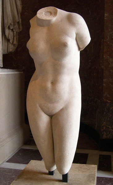 aphrodite,venus,cnide,statue,pubis,marbre,louvre,torse