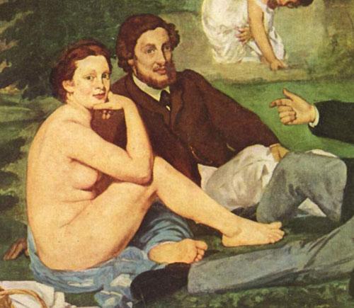 Edouard,Manet,indécente,nonchalante,nue,assise,déjeuner