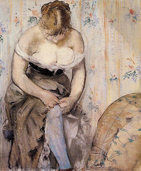 Edouard Manet,gros,seins,balcon,bas,jarretière,boobs,indécente