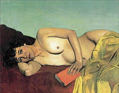 vallotton,nue,couchée,lecture abandonnée,seins,livre,drap jaune