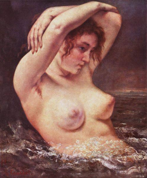 gustvae,courbet,gros,seins,nue,femme,vague