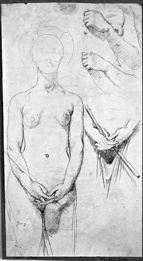 ingres,sainte amélie nue,nude,dessin,naked saint