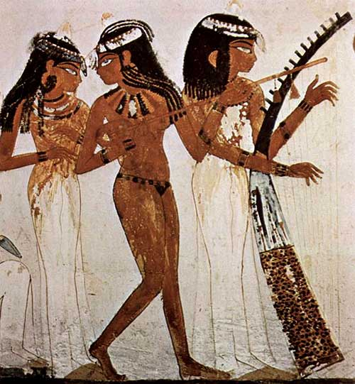 musiciennes,tombe,nakht,seins nus,égypte