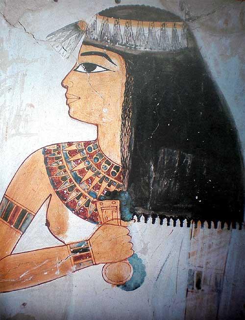 egypte,tombe,nakht,coiffe,bijoux,coiffe,seins nus,profil,portrait