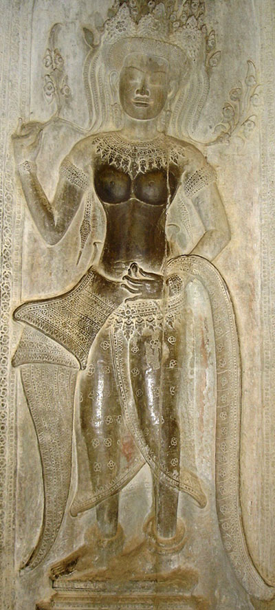 apsara,devata, angkor, bas-relief, traces de mains, torse