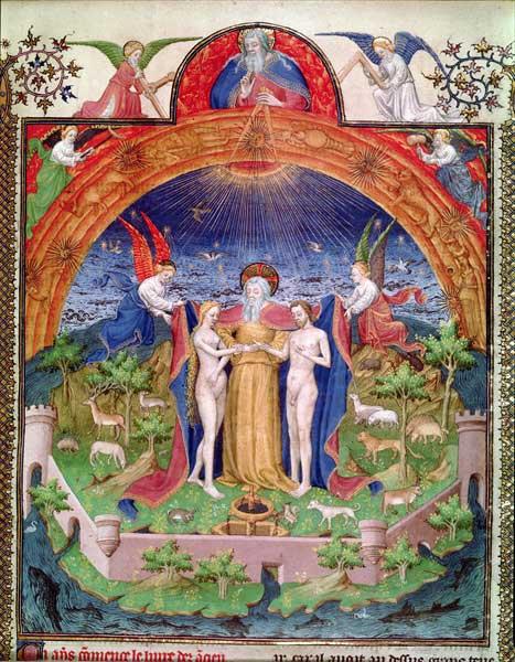 création,mariage,adam,eve,égalité,enluminure,maitre du hannibal de harvard,antiquités judaiques