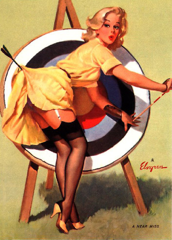 elvgren, pin-up,pinup,a near miss,right on target,1964