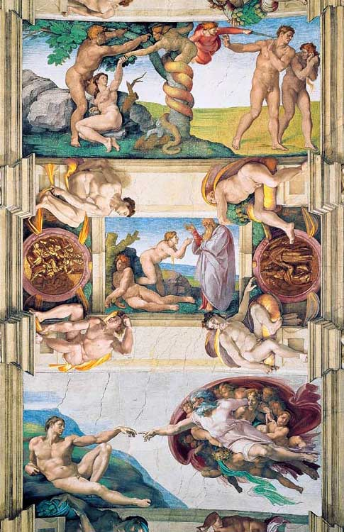 chapelle sixtine,vatican,michel-ange,adam,eve,creation
