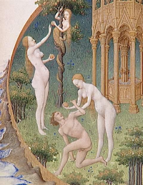 adam,eve,serpent,eden,paradis,pomme,faute,enluminure,heures,berry,limbourg
