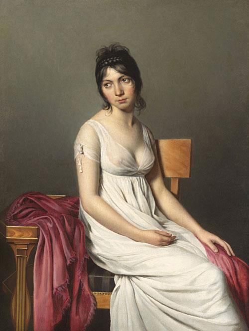 portrait de jeune femme en blanc,cercle de jacques louis david,nga