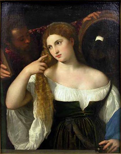 Le Titien,tizian,titian,tiziano,femme au miroir,femme a sa toilette