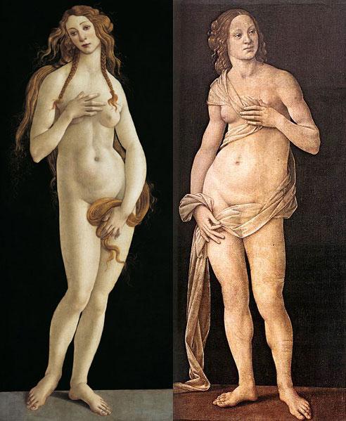 sandro botticelli,lorenzo di credi,venus capitoline,venus pudica,inversé