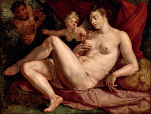 Hendrick GOLTZIUS, Venus et l'Amour épiés par un satyre, Louvre,1616