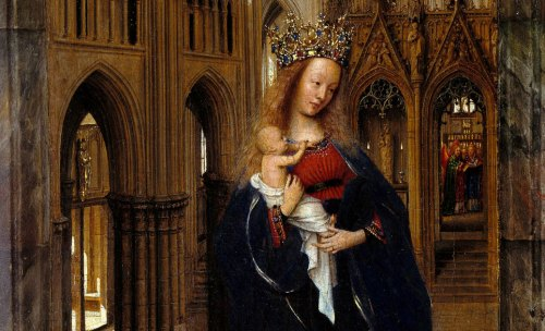 madonna in the church, van eyck, detail