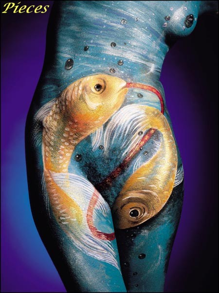 Pisces,bodypainting,poissons