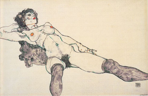 Nu féminin couché avec les jambes écartées - 1914 - Albertina, Venne - Source : Wikimedia